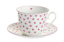 Nina Campbell Large Bone China Breakfast Cup & Saucer  Pink Hearts 0.45L New