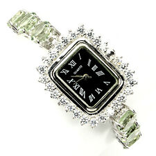 Sterling Silver 925 Large Round Cut Green Amethyst Bracelet Watch 7.5 Inches