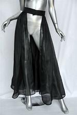 VALENTINO BOUTIQUE Black SILK ORGANZA Open Front Full Pleated Evening Skirt S