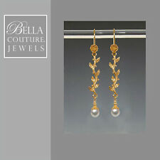BELLA NEW $500 VICTORIAN 18K GOLD TAHITIAN PEARL DANGLE CHANDELIER EARRINGS 24K