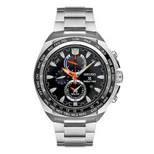 Mens Seiko Solar Prospex Stainless Steel World Time Chronograph Watch SSC487