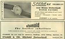 1953 Spera Tramelan Bienne Watch Factory Stamm Eglisau Leather Substitute Ad