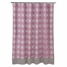 New Cocalo ~ IRIS COLLECTION Fabric Shower Curtain~Pink Brown White Geometric