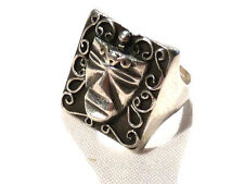 Bijou argent 925 bague masque africain  taille 59 ring