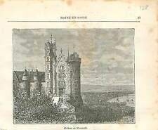 Château de Montreuil-Bellay Maine-et-Loire FRANCE GRAVURE ANTIQUE OLD PRINT 1882