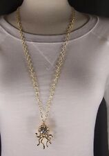"""Gold crystal Octopus necklace sea life pendant charm 30"""" long chain necklace"""