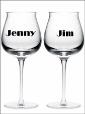 New 2 PERSONALISED NAME wine glass vinyl stickers Decals 18 Colour choice