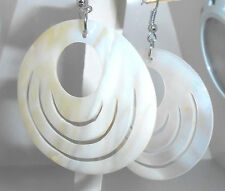 "New Large Genuine  Mother-of-Pearl cut-out Design Disc Dangle Earrings 2.5"" long"