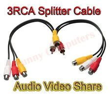 3 RCA Male to Dual 3RCA Female Plug Splitter Audio Video AV TV DVD Adapter Cable
