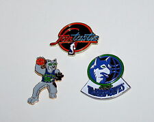 Vtg Minnesota Timberwolves Basketball NBA Team Logo 3 Pin Collector Set NOS New