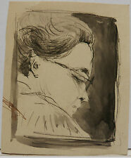 Dessin Original Aquarelle PAUL COUVREUR -Portrait- 1930 - PC100