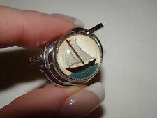 Vintage Silver Nautical Sail Boat Painted Intaglio Glass Brooch Pin 1 1/4""