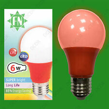 10x 6W LED Red Coloured GLS A60 Light Bulb Lamp ES E27, Low Energy 110 - 265V