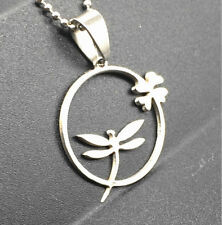 Women's Fashion dragonfly Silver 316L Stainless Steel Titanium Pendant Necklace