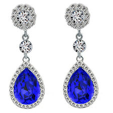 Luxury Diamond Shine Rhinestone Dark Royal Blue Long Drop Stud Earrings E866