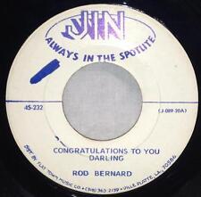 """Rod Bernard Congratulations To You Darling / You're The Reason 7"""" Jin 45-232"""