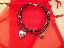 Silver Plated Heart Paw Print Charm Bracelet Cat Dog