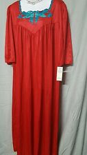HOLIDAY  ANKLE LENGTH RED  NIGHTGOWN WITH APPLIQUE 3/4 SLEEVE   SIZE 4X