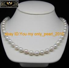 """MP"""" Natural 8-9mm AAA+white pearl necklaces 925S-18"""""""
