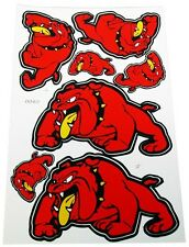 Stickers Red Bull Dog,2 Large 2 Medium & 3 Small