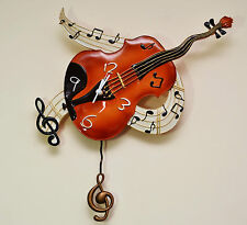 VIOLIN - BEAUTIFUL WALL CLOCK WITH PENDULUM