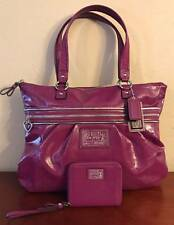 COACH POPPY DAISY LIQUID GLOSS TOTE BAG & WALLET SET! RASPBERRY PATENT LEATHER