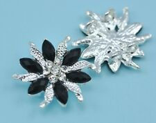 5x 2-strand Black Rhinestone Diamante Flower Silver Plated Connectors Joiners