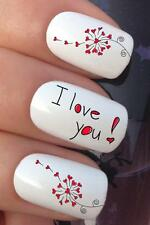 VALENTINES DAY NAIL ART 013 x16 DANDELION HEART LOVE U TRANSFERS DECALS STICKERS