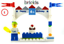LEGO® BIRTHDAY PERSONALISED CAKE TOPPER  ENGRAVED WITH NAME PARTY FAVOUR DECO