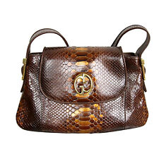 "$2100 NEW Authentic GUCCI ""1973"" Python Tote Shoulder Bag Handbag,Brown, 251811"