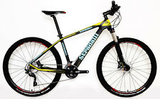 "STRADALLI CARBON FIBER HARDTAIL MTB BIKE BLUE YELLOW 27.5"" 650B SHIMANO M 17"""