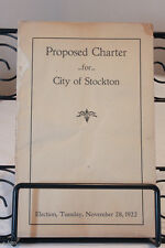 Proposed Charter for City of Stockton, CA Election November 28, 1922