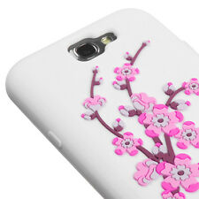For Samsung Galaxy Note II 2 Rubber SILICONE Soft Skin Case White Spring Flower