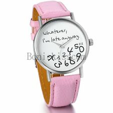 whatever I'm late anyway Luxury Women's Leather Band Analog Quartz Wrist Watch