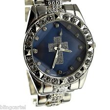 Cross Hip Hop Watch Blue Face Iced-Out Sparkly Stone Silver Tone Men Jesus Bling