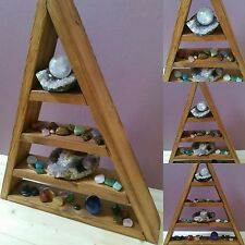Hand Crafted Wooden Triangle Shelf for displaying of ornaments and crystals etc