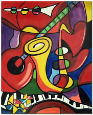 Music Instruments by Pablo Picasso - Hand Painted Oil Painting Piano Guitar Sax