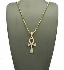 """MEN ICED OUT ANKH CROSS SYMBOL OF LIFE PENDANT 2mm 24"""" BALL CHAIN NECKLACE SS062"""