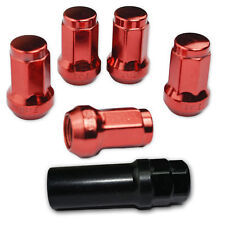 24 PC RED STEEL CLOSED-END LOCKING HEPTAGON LUG NUTS FOR WHEELS/RIMS 12X1.5 C