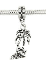 STERLING SILVER DANGLING HAWAII PALM TREE EUROPEAN BEAD CHARM