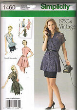 Vintage 50s Retro Tunic Peplum Blouse Top Sewing Pattern Size 14 16 18 20 22