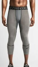 New Nike Men's Pro Combat Hypercool 3/4 Tight Grey Size Small