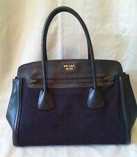 Prada Saffiano Black Leather & Hemp Tote Bag NEW w/Registration Cd Retail $1550