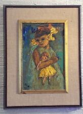 1964 OIL POST- IMPRESSIONIST PAINTING OF GIRL & DOLL BY ELLA D. CUSTOM FRAME