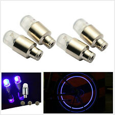 4Pcs blue Flashing LED Light Car Bike Wheel Tyre Valve Lamp contour Safety light