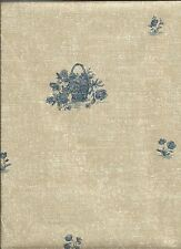 Blue Baskets of Flowers on Brown Burlap Wallpaper by Brewster  T742533
