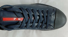 PRADA Soft Calfskin Leather Low-Sneakers (Size 13 US; 12 PRADA) Luxurious Blue