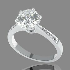 3/4 CT Genuine Diamond Enhanced Engagement Ring Round Cut F/SI2 14K White Gold