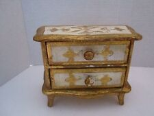 Vintage Florentine Italy Toleware Gilt Gold Carved Wood Jewelry Chest w/ Drawers