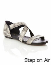 Autograph grey strappy zip Back wide foot Sandal shoes Leather socks size 11 NEW